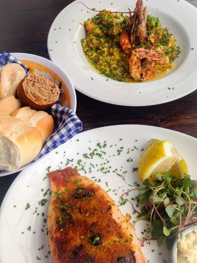 High angle view of seafood served on table