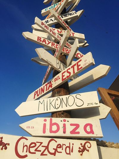 Choose your destination. Formentera Ibizs Balearic Islands Totem Communication Text Western Script Low Angle View Sign Sky No People