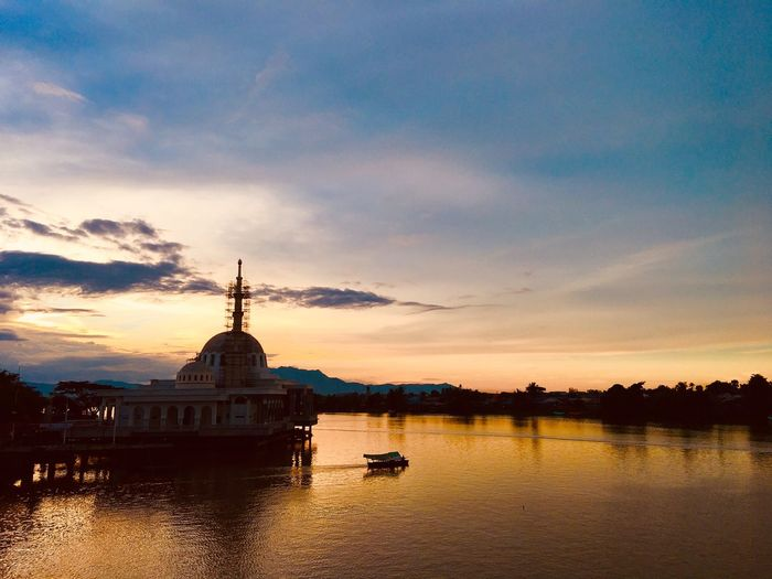 Kuching Sunset from The Darul Hana Bridge Architecture Cloud - Sky Reflection Built Structure Outdoors