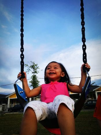 I'm happy girl.... buai laju laju... Rope Swing Smiling Girls Sitting Cheerful Outdoor Play Equipment