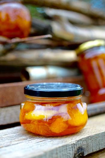 Close-up of preservatives in jar