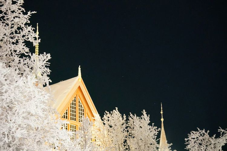 Kiruna Church under the December night sky. While aurora borealis were dancing on the other side of the sky. Scandinavia Polar Climate Church Architecture Kiruna Church White Christmas Church Beauty Of Nature Winter Sony Alpha 6300 Sonya6300 Up To The Sky Nature Nature Photography Night Sky Stars Aurora Borealis Snowcapped Trees And Sky Snow ❄ Tree Sky Religious Event Tree Topper Christmas Christmas Lights Triangle Shape Festival