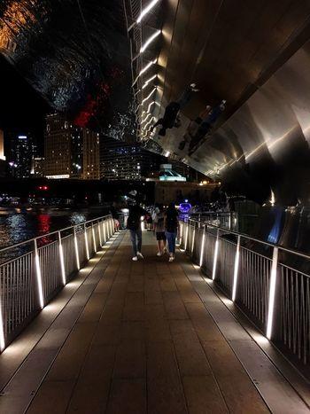 Chicago Riverwalk Nighlife Chicago Riverwalk Chicago Illuminated Night Lighting Equipment Architecture Built Structure Men Real People