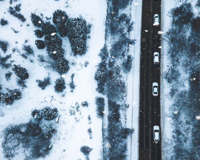 No People Snow Snowing Snowing ❄ Drone  Dronephotography Drone Photography Aerial View Aerial Photography Cold Temperature Winter Day Outdoors Covering Beauty In Nature Mode Of Transportation Tree Transportation White Color Nature