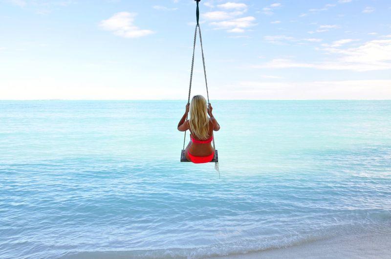 Desert Island Island Paradise Paradise Beach Paradise On Earth Maldives Swinging Paradise Island Rope Swing Full Length Sea Swing Hanging Adventure Women Sky Calm Idyllic