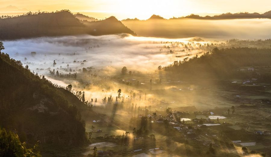 1st January 2018 Bali Kintamani Landscape Sunrise Mountain Sunset Tree Cold Temperature Rural Scene Fog Dawn Winter Sunlight Morning Volcanic Landscape Valley Kilauea Sky Only