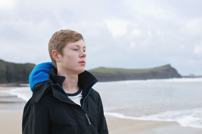 Contemplation Teenager Boy Beach Sea Winter Looking Looking Away
