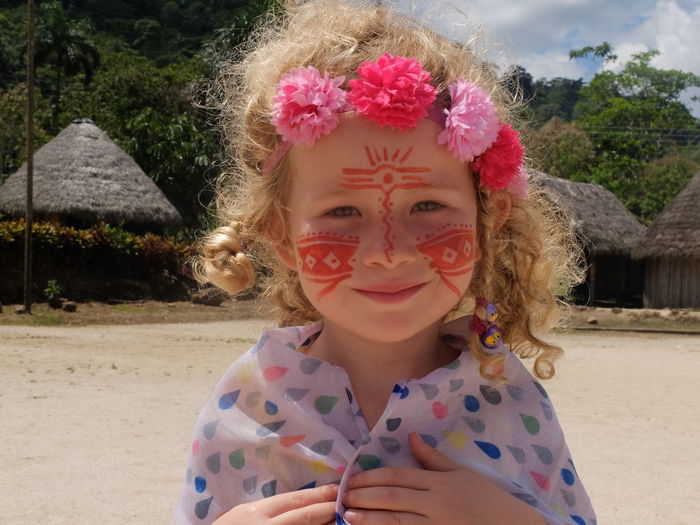 Ecuador Face Painting Girl Happiness Indigenous Village Looking At Camera Portrait Smiling Travelling Travelloin Visitor