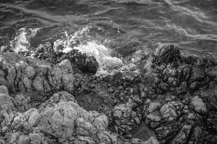 Black & White Textures Backgrounds Beauty In Nature Black And White Black And White Friday Day Full Frame High Angle View Monochrome Motion Nature No People Outdoors Power In Nature Sea Water Wave