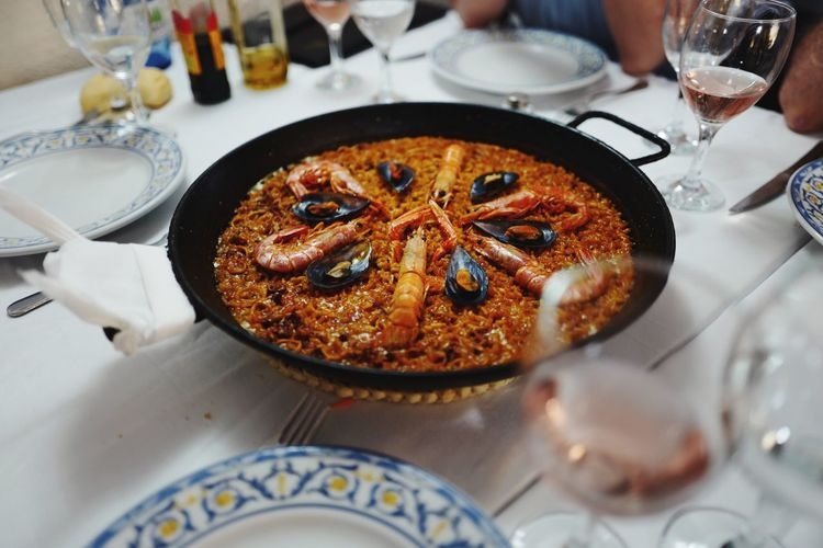 PaellaValenciana Food And Drink Table Food Freshness Ready-to-eat Indoors  Plate Glass Drinking Glass Wellbeing Wineglass Tablecloth Indulgence
