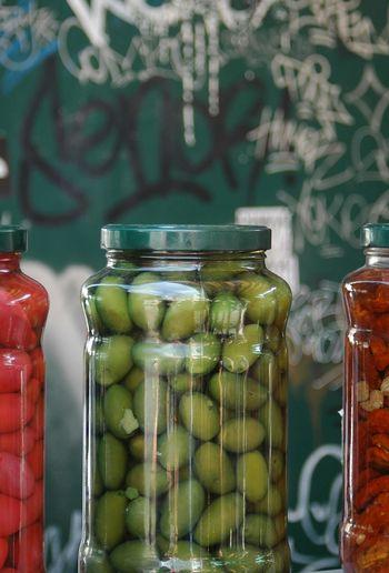 Close-up of olives in jar