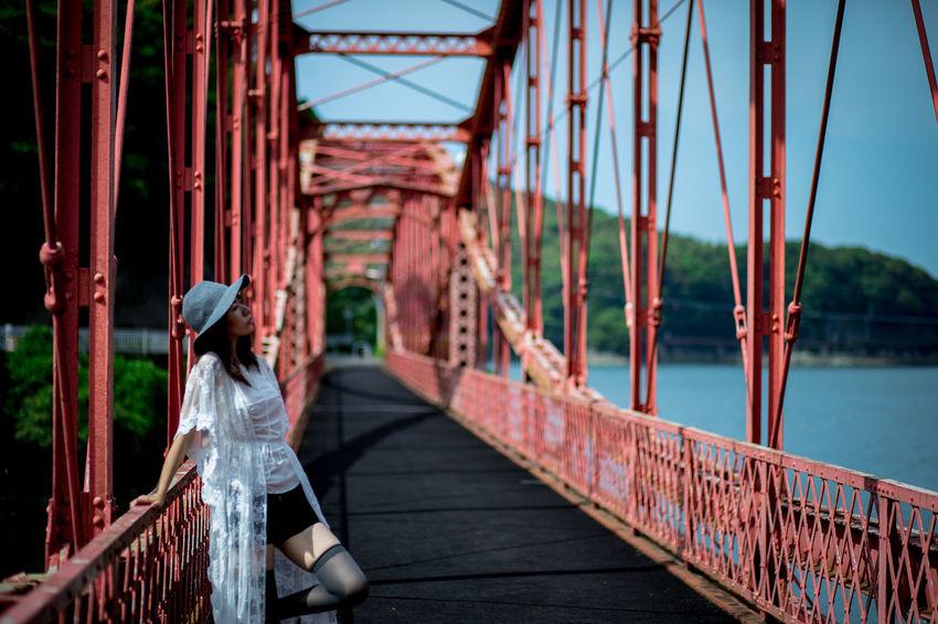 Red Bridge #japan #red #womanportrait