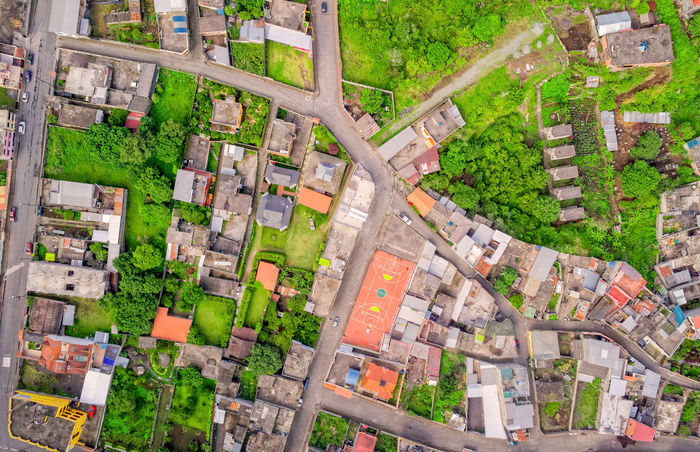 Banos De Agua Santa, Cityscape, Tungurahua Province, South America Aerial Aerial Photography Aerial View Architecture BañosEcuador Building Exterior Business Business Finance And Industry City City City Life Cityscape Community Day Downtown District Drone  Dronephotography Droneshot Green Color Housing Development No People Outdoors Residential Building Roof South America
