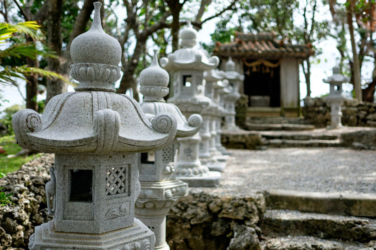 Built structures in front of temple at ishigaki