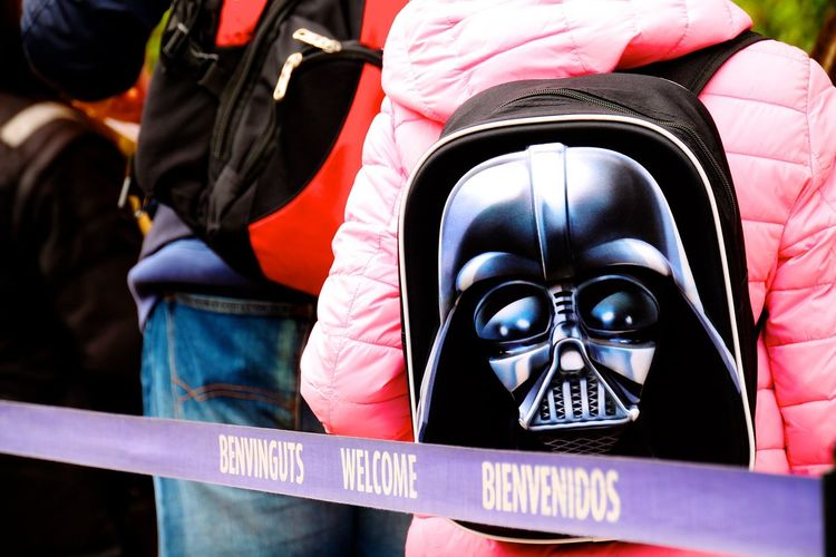Black Casual Clothing Close-up Darth Vader Day Entrance Entry Focus On Foreground Leisure Activity Lifestyles Pink Queue See Star Wars Street Photography Feel The Journey