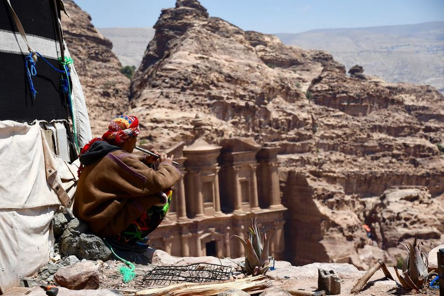 Room with a view Jordan Petra Adult Adults Only Ancient Ancient Civilization Architecture Cultures Day Flute History Monestary Mountain Nature Old Ruin One Man Only One Person Outdoors People Real People Rock - Object Sky Tent Themonestary Travel Destinations