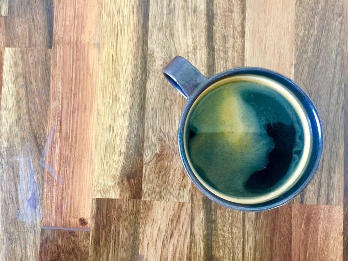 Black coffee Wood - Material Cup Directly Above Day Close-up Table Still Life High Angle View Sunlight Food And Drink Outdoors Shadow Drink Refreshment No People Mug Tea Blue Nature Coffee