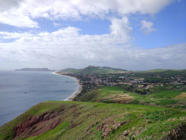 Green Island Mountains Porto Santo Portugal Sea