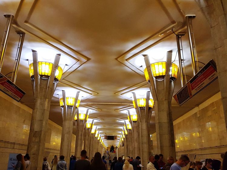 Minsk Subway Waiting Area Subway Belarus Minsk People Indoors  Ceiling Architecture Art Deco Tiles
