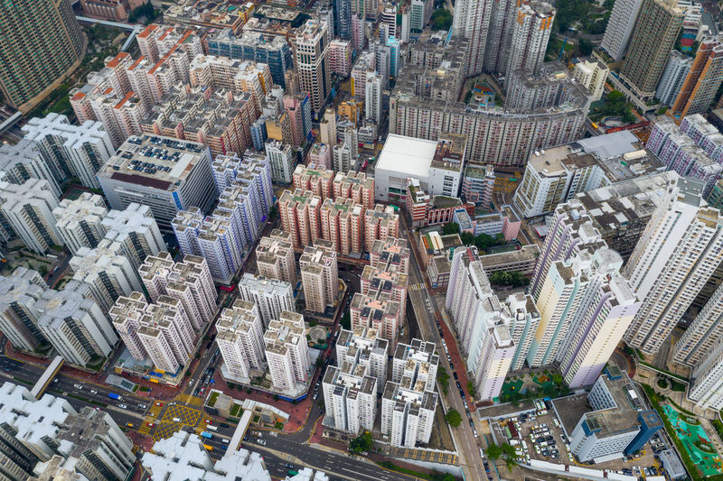 Hong Kong Hong Kong Top View Downtown Hung Hom Infrastructure Business Financial Building ASIA Urban Office Skyscraper Cityscape Architecture Residential  Metropolis Company Aerial Fly Drone  Over Above Down Top Down Bird Eye Hk Hong Kong City