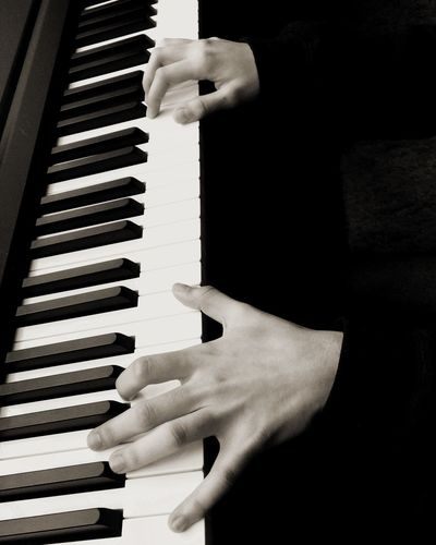 Keyboard Playing Piano Playing Keyboard Play Music Music Musician Piano Blackandwhite