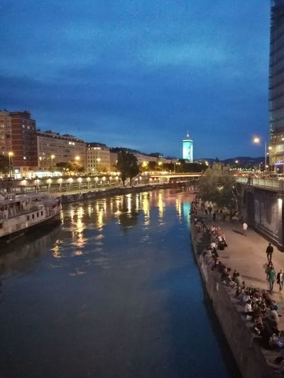 Am Donaukanal Vienna Wien Night Lights Illuminated Reflection Cityscape City Architecture Bridge - Man Made Structure Water Sky Building Exterior Old Town Urban Skyline Built Structure No People Town Outdoors Vacations Travel Destinations
