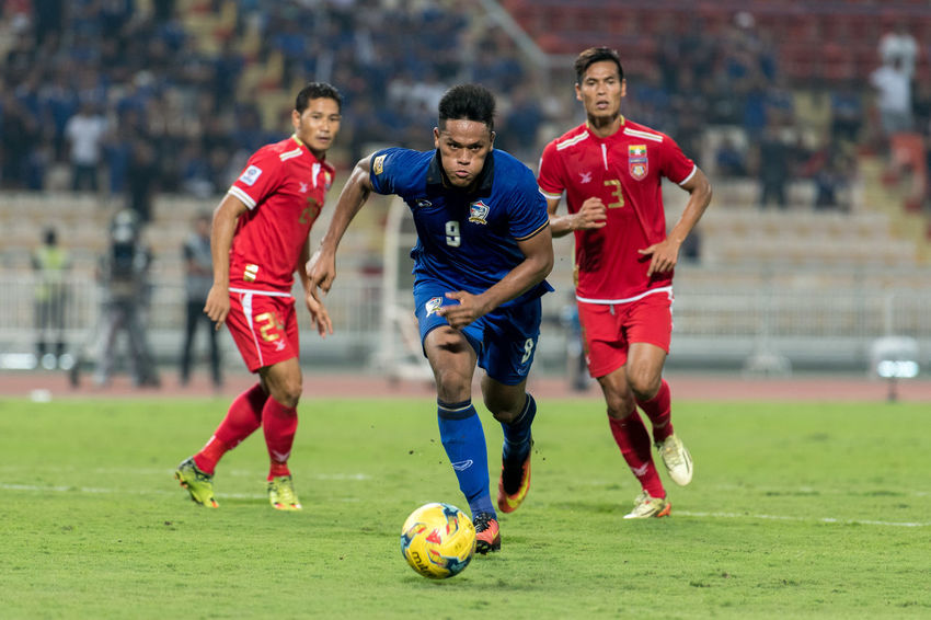 AFF Suzuki Cup, Final Rounds : Semi-Finals. Thailand vs Myanmar at Rajamangala Stadium, Bangkok, Thailand. Thursday, December 8, 2016 Final Score: Thailand 4-0 Myanmar (HT: 1-0), Aggregate: 6-0 Action Action Photography AFF Suzuki Cup 2016 Competition Football Football Field Football Game Football Player Football Stadium Movement Movement Photography Myanmar Myanmar Football Playing Football Referee Score So Soccer Field Soccer Game Sports Photography Thai Football, Thai National Team