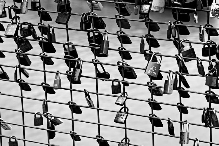 Backgrounds Full Frame Close-up Fence Locked Love Lock Safety