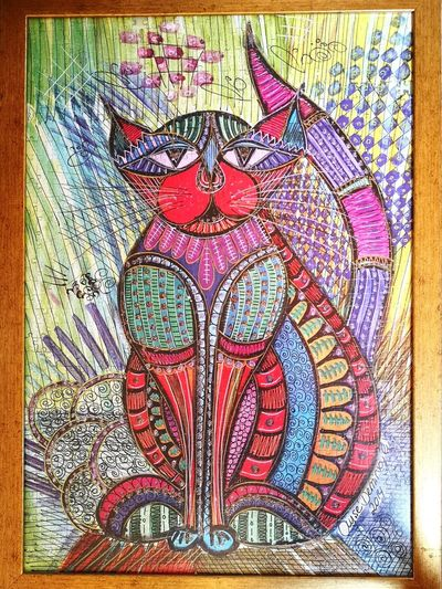 Puzzy 👍 Puzzle  Puzzled Eyem Eyemphotography EyeEm Best Shots EyeEmNewHere EyeEm Gallery EyeEm Selects EyeEm Eyeemphotography Cat Cat♡ Cats Of EyeEm Cat Lovers Cats Evil Eye Multi Colored Backgrounds Full Frame Close-up Art Art And Craft Colored Pencil ArtWork Drawing - Art Product