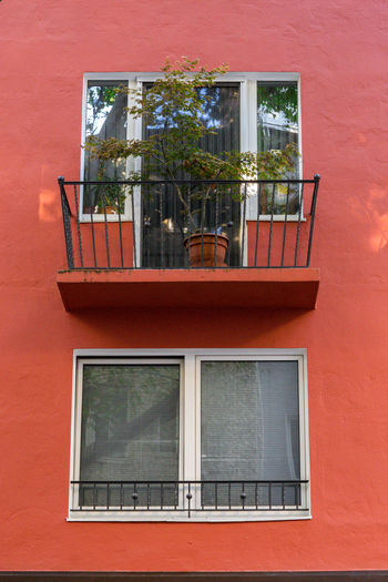 Low angle view of window on building