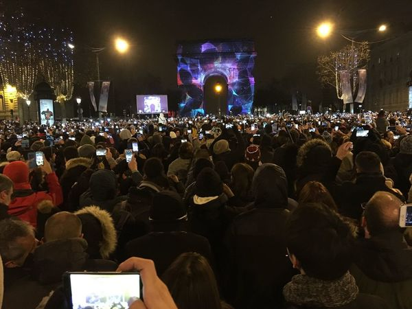 Large Group Of People Crowd Night Music Arts Culture And Entertainment Illuminated Real People Audience People Men Nightlife Performance Group Togetherness Adults Only Performing Arts Event Adult Newyearseve NewYear Paris Paris, France  Silvester Champs-Élysées  L'arc De Triomphe NewYearsDay