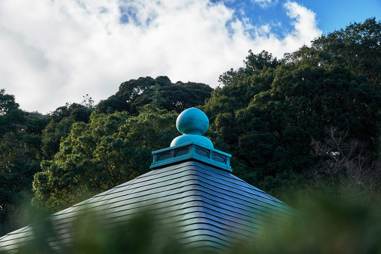 Japanese temple roof view