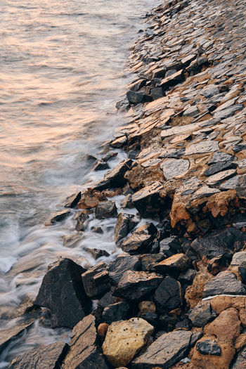 Aerial view of rocks on beach