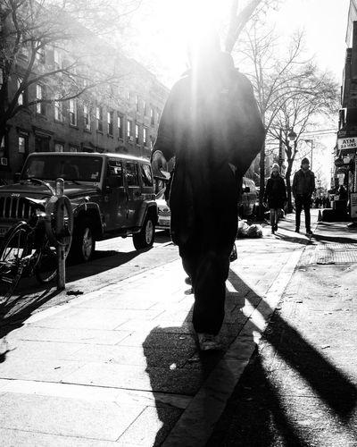 NYC 2018 Blackandwhite Urban EyeEmNewHere Tree Men Working Shadow Standing Sunlight Silhouette Road City Rear View Street Scene Street Capture Tomorrow