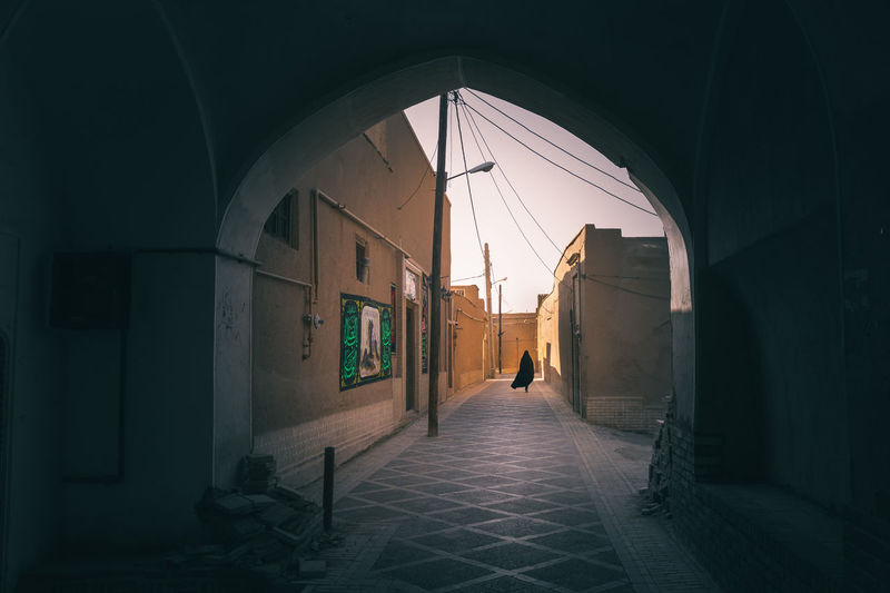 Adult Arcade Arch Architecture Building Building Exterior Built Structure Burka  Corridor Door Dot Entrance Full Length Iran Lifestyles Men Outdoors People Real People Two People Walking Women My Best Travel Photo