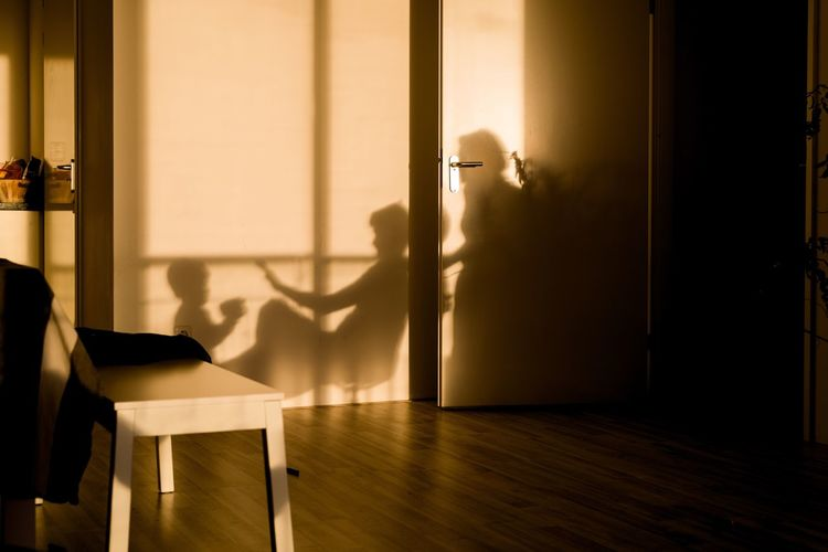 Shadow of parents playing with child at home