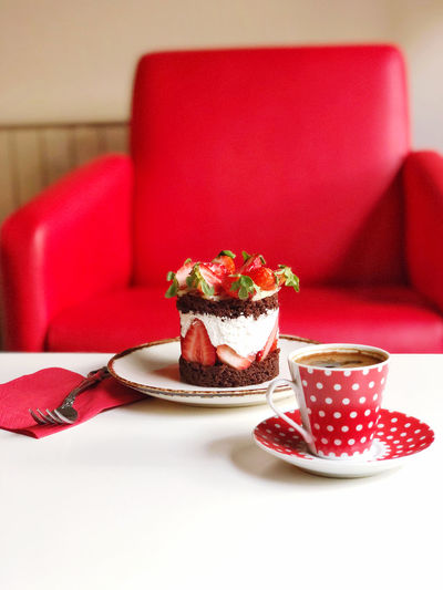 Red cake on table