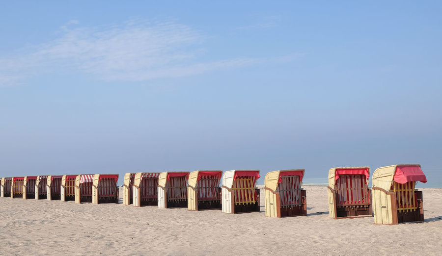 Arrangement Beach Beach Chairs Clear Sky Live For The Story Copy Space Day Deserted Full Length High Resolution In A Row Multiple Objects Nature No People Ostsee Ostseebad Dahme Outdoors Roof Wicker Beach Chair Sand Sea Sky Strandkörbe Tranquil Scene Tranquility Vacations
