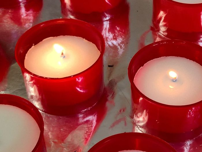 Arrangement Burning Candle Church Close-up Composition Decoration Fire Fire - Natural Phenomenon Flame Glowing Heat - Temperature In The Church Indulgence Large Group Of Objects Red