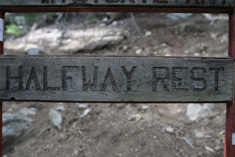 Close-up Communication Day Focus On Foreground Halfway Halfway There No People Old Outdoors Rest Sign