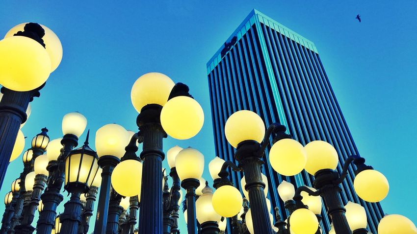 Low Angle View Clear Sky Yellow In A Row Lighting Equipment Outdoors Architecture