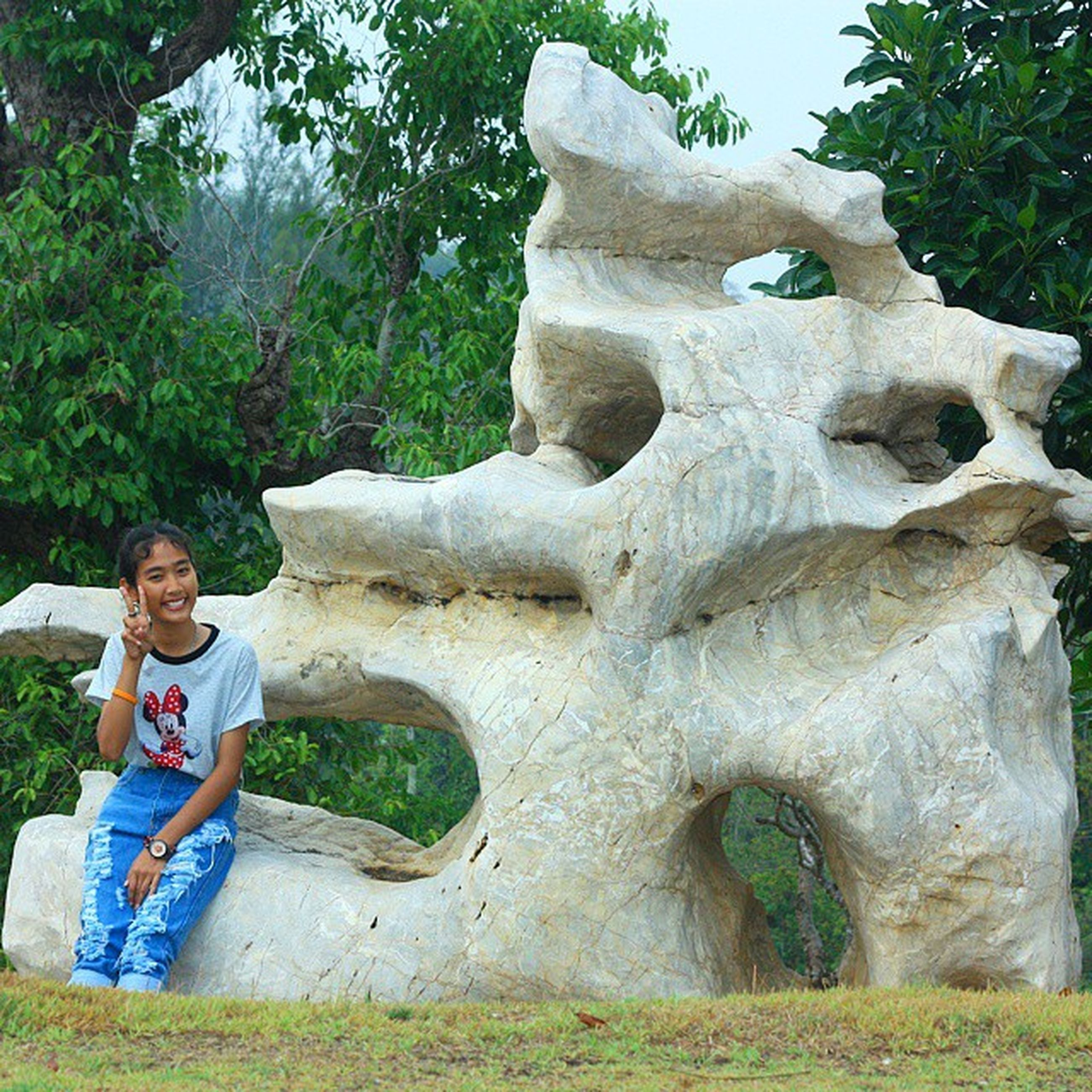 tree, leisure activity, lifestyles, childhood, casual clothing, person, full length, boys, elementary age, girls, park - man made space, smiling, day, rock - object, standing, nature, human representation, outdoors
