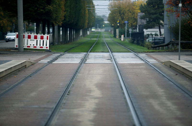 Surface level of railroad tracks in city