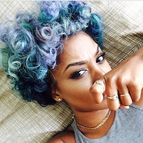 Colorful Hair Curly Hair Afro Selfie