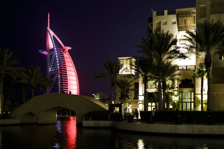 View of buildings at night