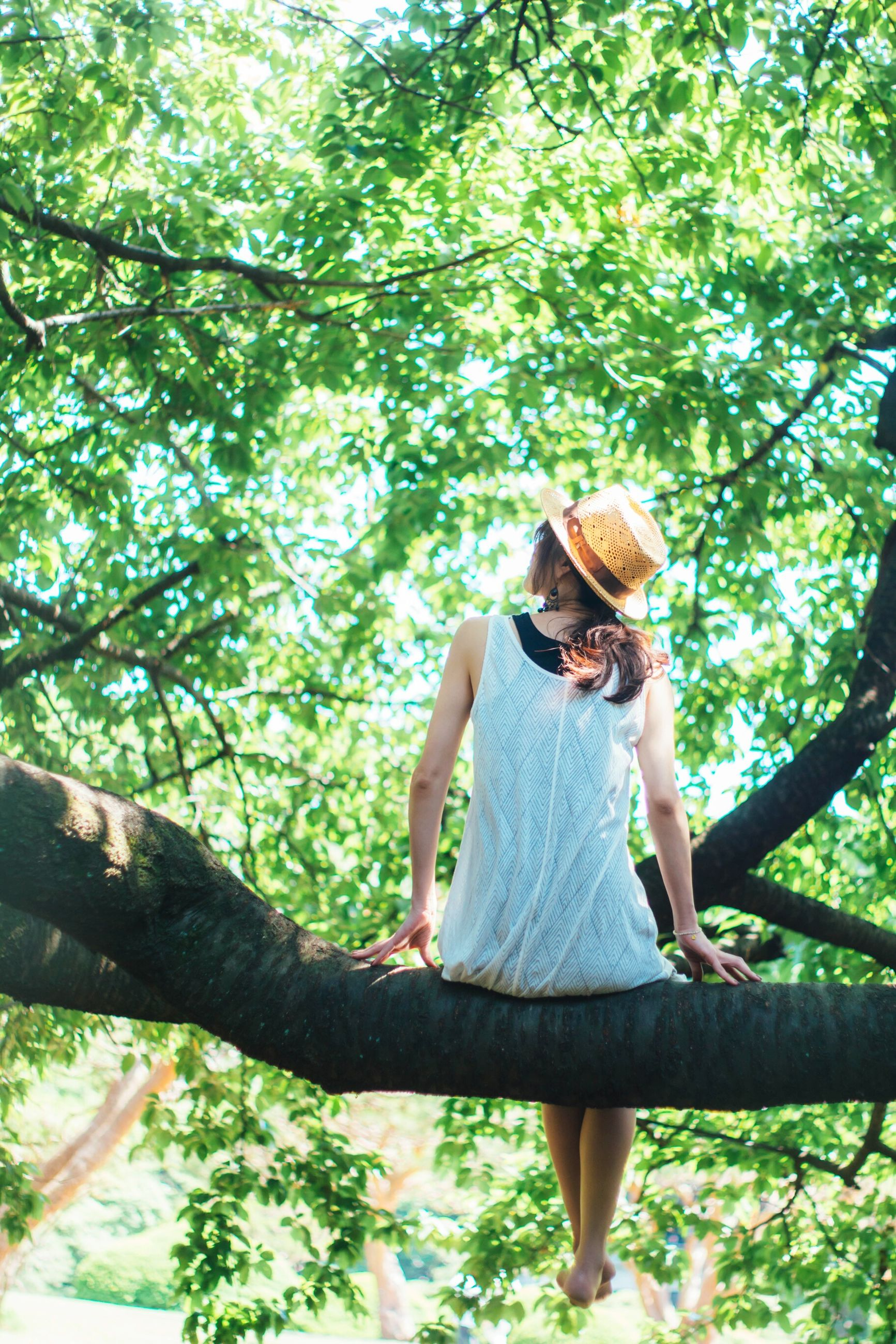 tree, hat, casual clothing, one person, sun hat, day, outdoors, leisure activity, nature, full length, front view, real people, standing, branch, summer, lifestyles, women, growth, beauty in nature, young women, young adult, one woman only, people, adult, adults only