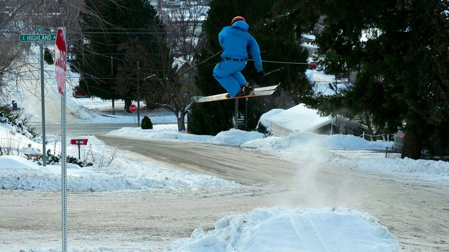 Road gap in Chelan, WA. Skiing Ski Skier Snowskiing Urban Urban Ski Road Gap Gap Jump Jumping City City Life Fun Washington State Lifestyles Snow Motion One Person Full Length Jumping Sport Mid-air RISK Winter Stunt Vitality Speed Leisure Activity Extreme Sports Skill  Outdoors Shades Of Winter #urbanana: The Urban Playground Be Brave