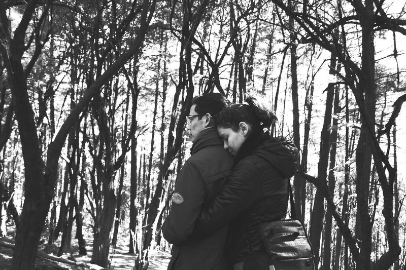 Black And White Two People Forest Warm Clothing Togetherness Nature Day Love Tree Winter Outdoors Forestwalk