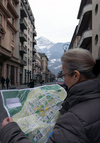 Building Exterior Built Structure City City Life Happiness Leisure Activity Perspective Street Travel Tourism Aosta Italy City Map Tourist Woman