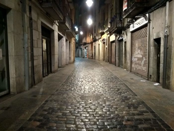 Rocky Road Illuminated Architecture Built Structure Alley Old Town Cobblestone Town Square